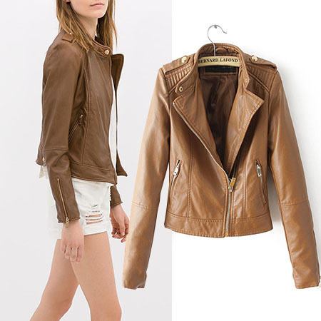 High-quality Autumn Winter Ladies Faux PU Leather Jacket Women Black Brown Slim 2014 Outerwear Coat Casual Zipper N10-1416(China (Mainland))