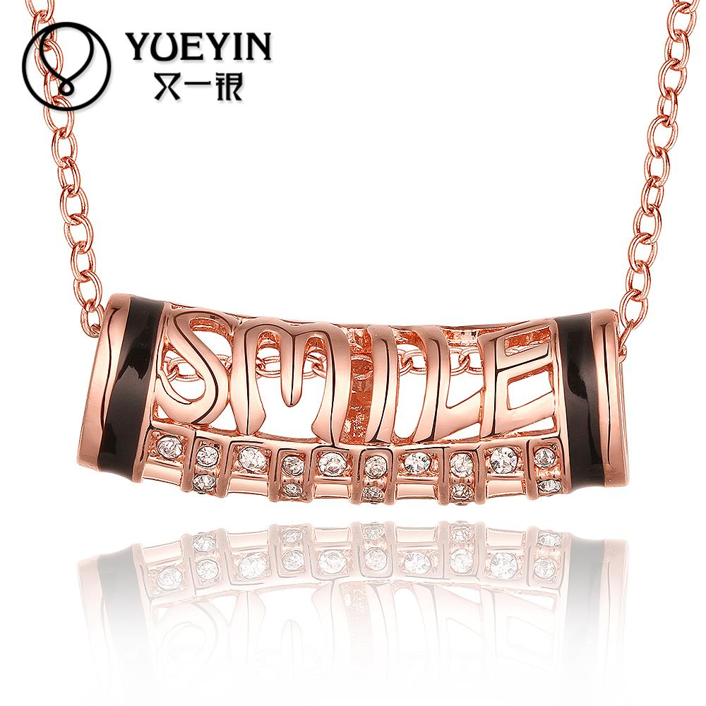 N845 New Band Women Necklace Accessories 18K Gold Plated Austrian Crystal Pendant Necklace Fine Jewlery Vintage