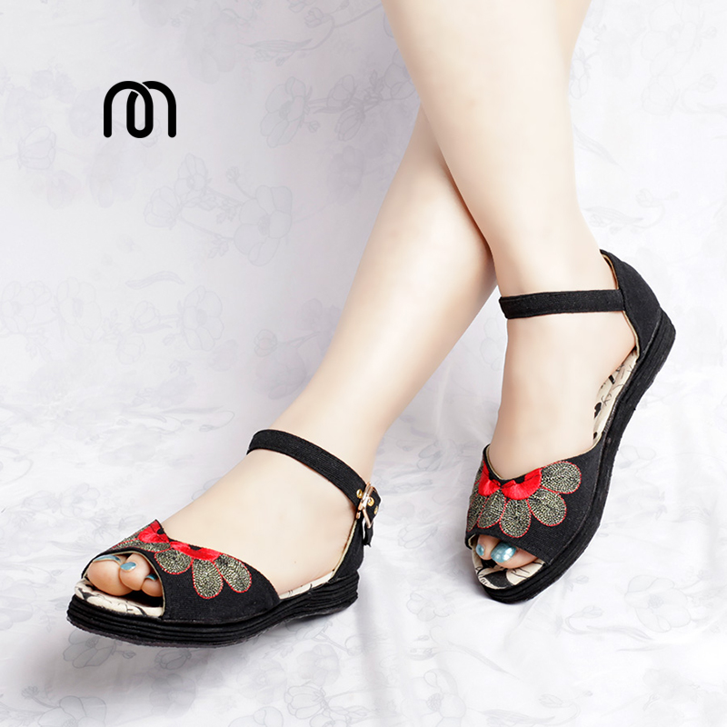 Фотография Millffy ethnic embroidered shoes sandals fish head low with flat shoes