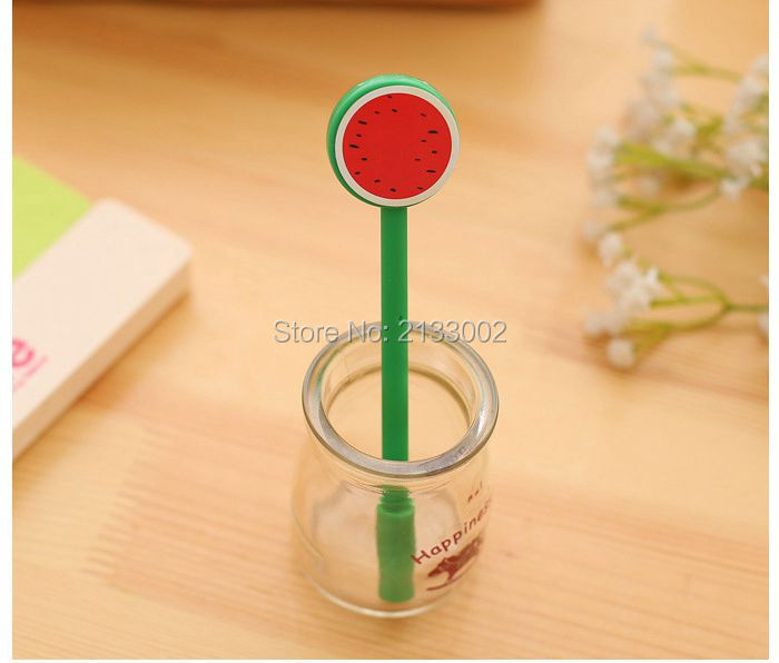 Cute Fruit Lollipops Gel Pen Watermelon Lemon 0.5mm Black Ink Pen Stationery For Students Office School Supplies