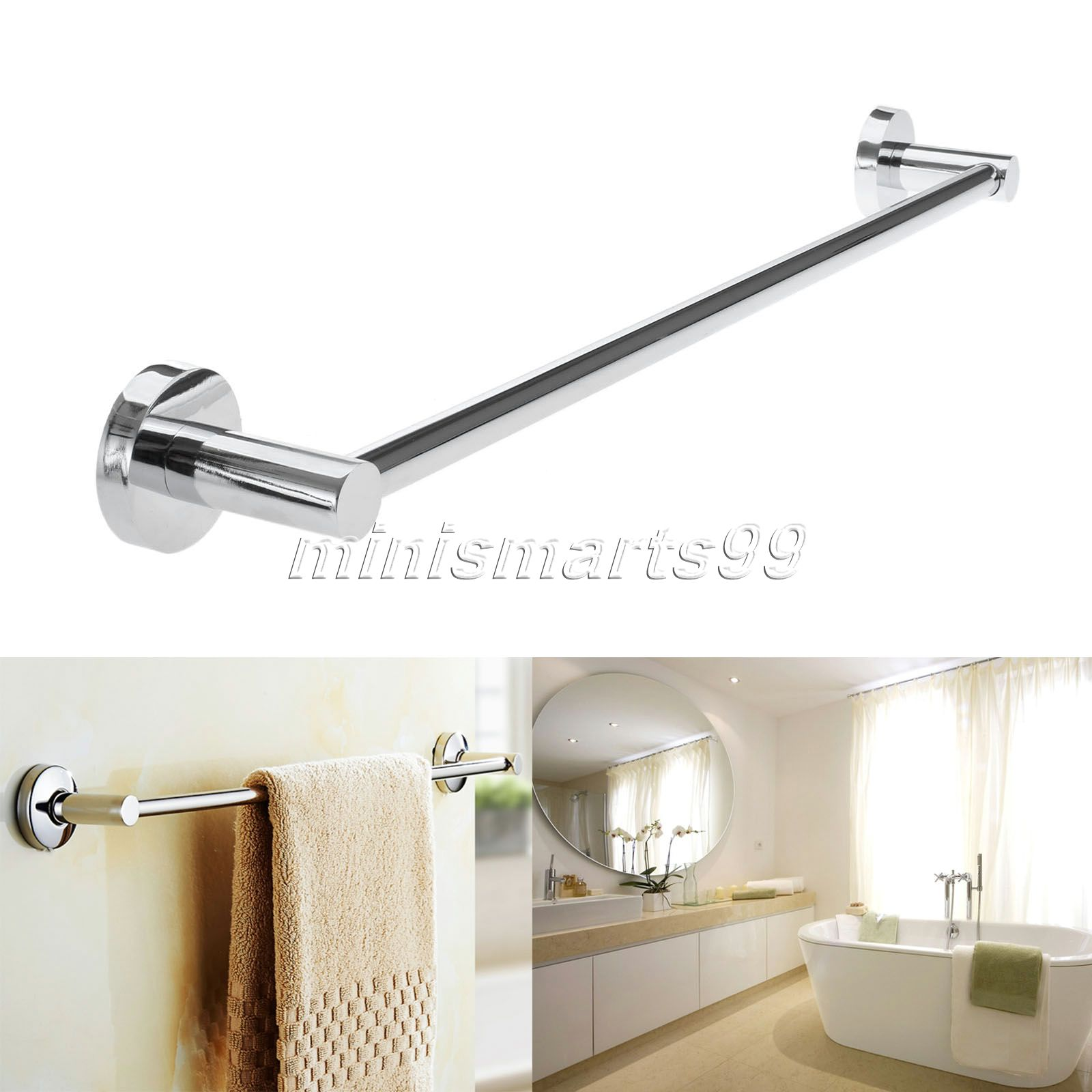 Wall mounted towel holders for bathrooms - 60cm Steel Towel Rack Holder Wall Mounted Bathroom Towel Holders