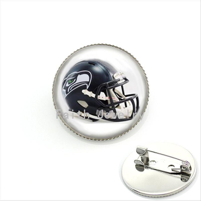 Vintage black ameran football sport team helmet pture brooches case for Seattle Seahawks team brooch pin cool men gift NF096(China (Mainland))