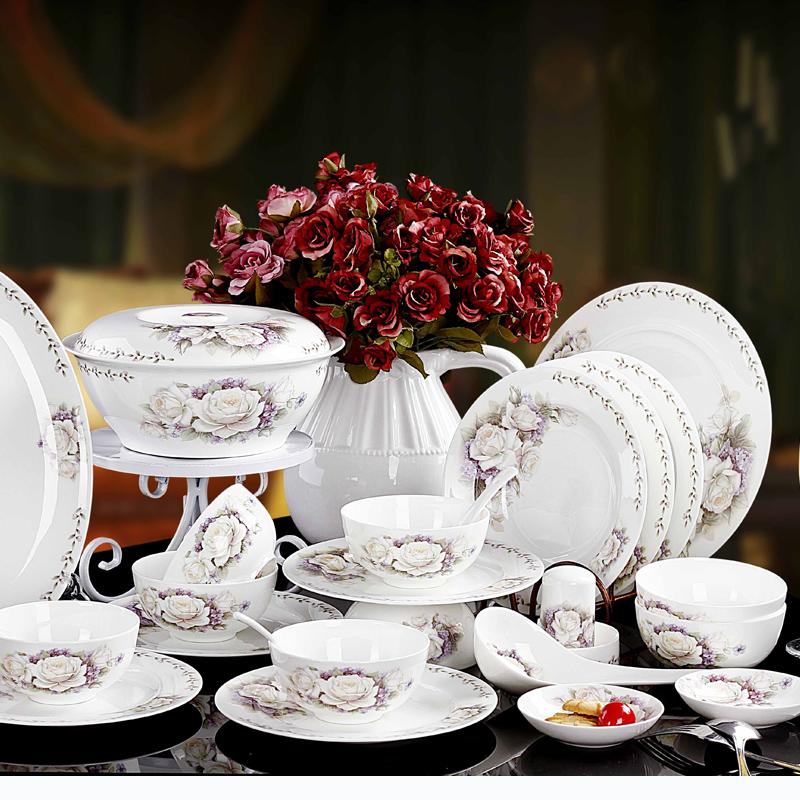 Ceramics fashion quality rustic 56 bone china dinnerware set dishes microwave oven(China (Mainland))