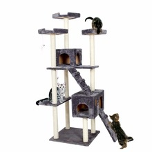 Domestic Delivery H182 Cat Climbing Toys Scratching Solid Wood for Cats Climbing Frame Two Ladder Climbing Plush Pet Toy 3Colors(China (Mainland))