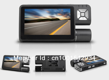 Free shipping ----Car dvr camera recorder with 4.3' touch screen, 120 degree view angle , 300 degree screen rotated