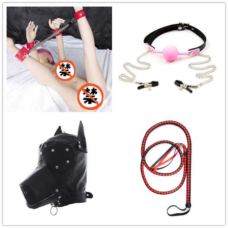 4Pcs/lot Sex Love Games Steel Spreader Bar Dog Leather Bondage Hood 1.9M Sex Whip Nipple Clamps Open Mouth Gag Bondage Toys Set<br><br>Aliexpress