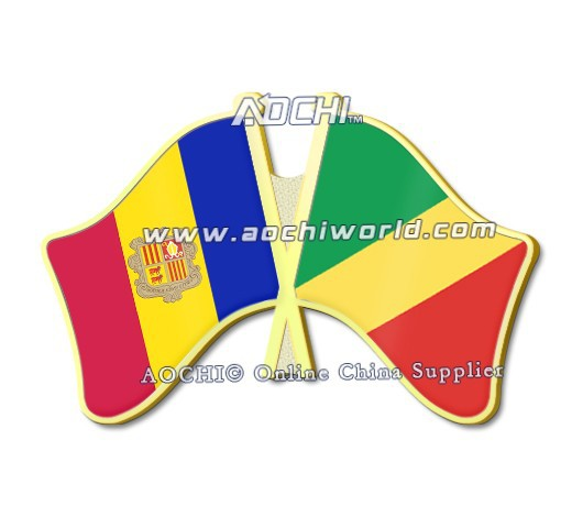 Hot Selling Best Selling Newest High Quality Andorra and Congo Crossed Flags Lapel Pins(China (Mainland))
