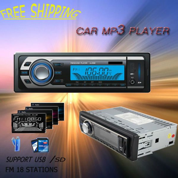 Free shipping Factory price universal in dash fashion car MP3 player 1 din with USB port / SD card slot Clock/ FM transmitter(China (Mainland))