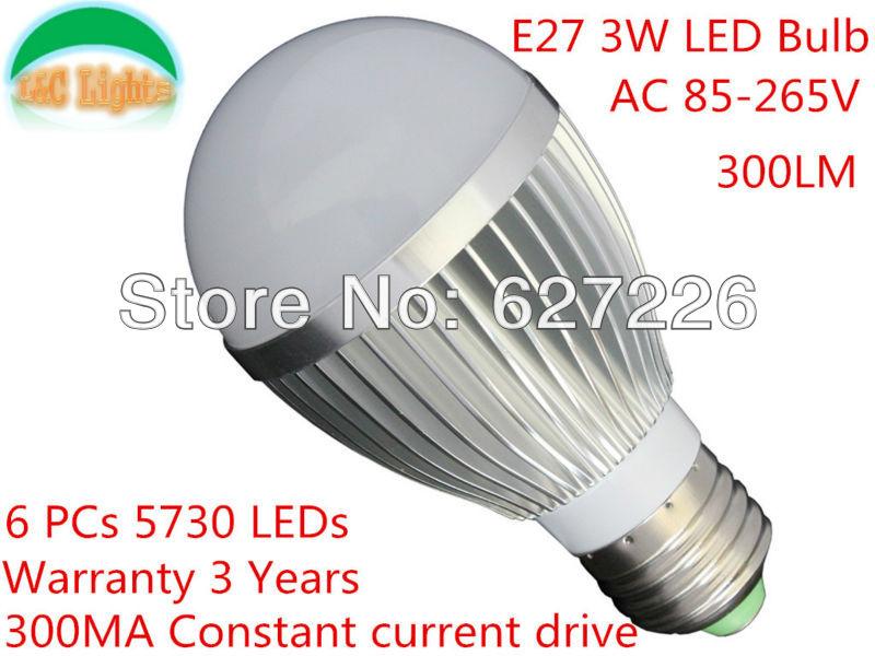 LED Bedroom Lamp AC85-265V 3W E27 lamps SMD5630 leds lamp 300LM LED Night Light Warm White/ White bubble lamp(China (Mainland))
