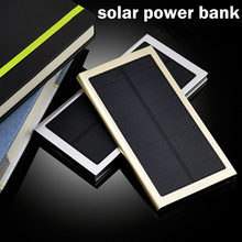 2016 New Ultra Thin Super Slim Matal 8000mAh Solar Power Bank for iPhone Samsung with retail package