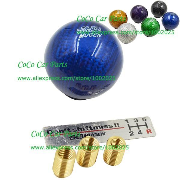 Bleu Couleur En Fiber De Carbone De Voiture Pommeau Universal Pommeau Avec 3 Vis Mugen Auto Pommeau(China (Mainland))