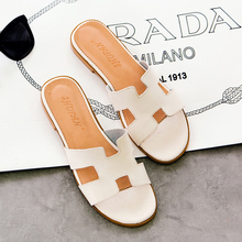 Genuine leather fashion slippers open toe h full women's flat shoes beige spring and summer u.s. shoe(China (Mainland))