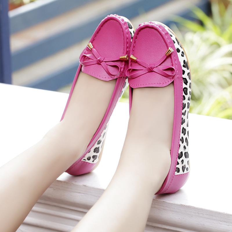A comfortable shoes metal bow shoes shoes Doug nurse shoes color shoes leopard soft bottom