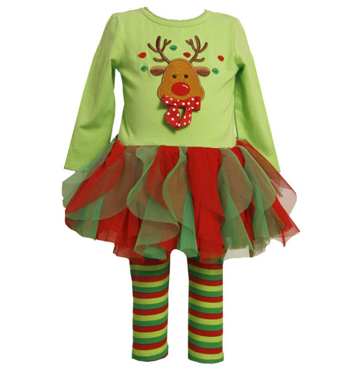 2017 childrens Christmas clothing set baby girls Cute Deer long sleeve t-shirt /dress+pants 2pcs set kids Halloween Suits outfit(China (Mainland))