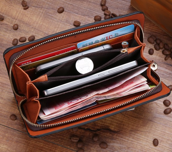 Fashion Women and men Wallet Genuine PU Leather Plaid Lady Coin Purses Cards Holder Hand Bags Long Zipper Clutch Wallets(China (Mainland))