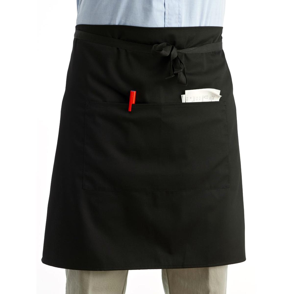 Universal Unisex Women Men Kitchen Cooking Waist Apron Short Apron Waiter Apron with Double Pockets (Black)(China (Mainland))