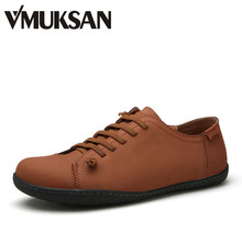 VMUKSAN 2016 New Mens Shoes Real Leather Men's Flats Vintage Brown Handmade Schoenen Comforty Fashion Mens Loafers Espadrilles(China (Mainland))