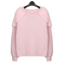 Europe Style New Fashion Women Shoulder Stitching Faux Rabbit Fur Knitting Sweater Cute Pullovers Pink(China (Mainland))