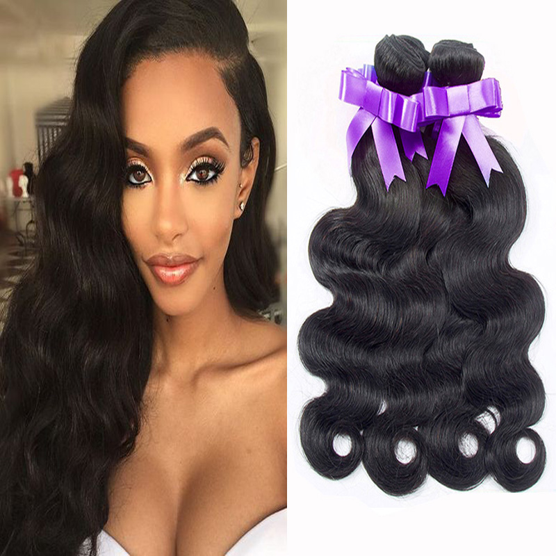 Brazilian Virgin Hair Body Wave Unprocessed 6A Grade 3Bundles Lot #1B Queen Hair Brazilian Body Wave Human Hair Weave Bundles(China (Mainland))