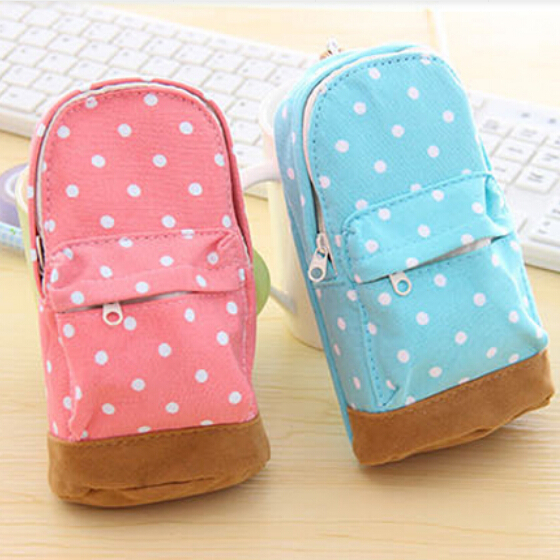 Cute Korea stationery big capacity pencil case Dot pattern wallet school supplies bag for kids child Free shipping 685(China (Mainland))