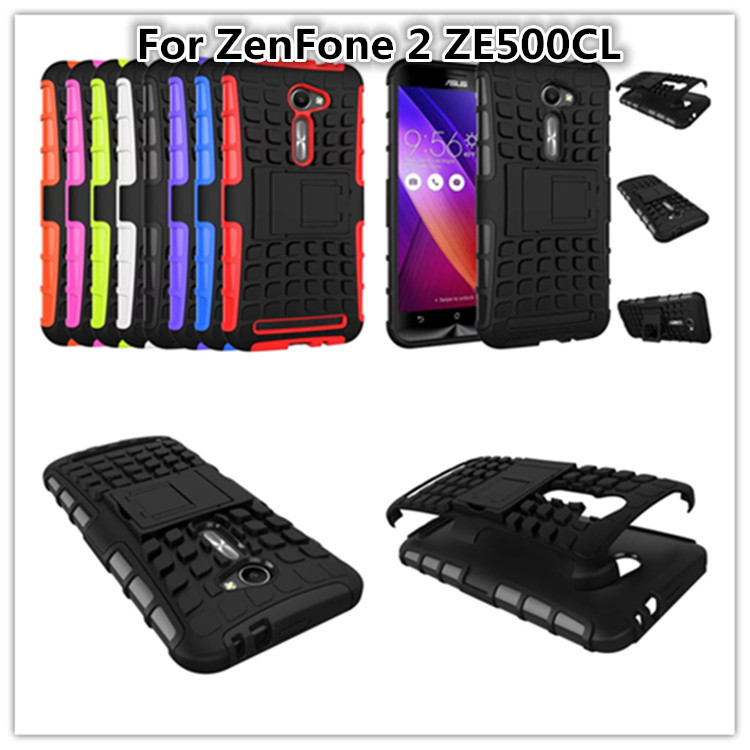 Top Quality Rugged TPU Plastic Hybrid Shock Proof Kickstand Duty Armor Phones Case For Asus ZenFone 2 ZE500CL Hard Back Cover(China (Mainland))