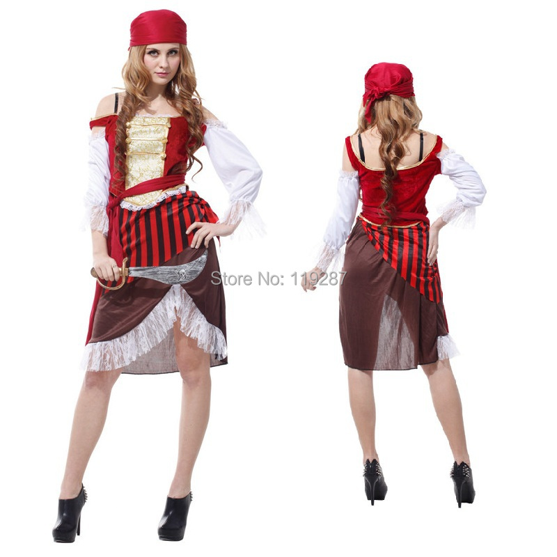 New pirate female temptation sexy costumes dress Sexy model women pirate costume Halloween costumes dress for 155-170cm(China (Mainland))