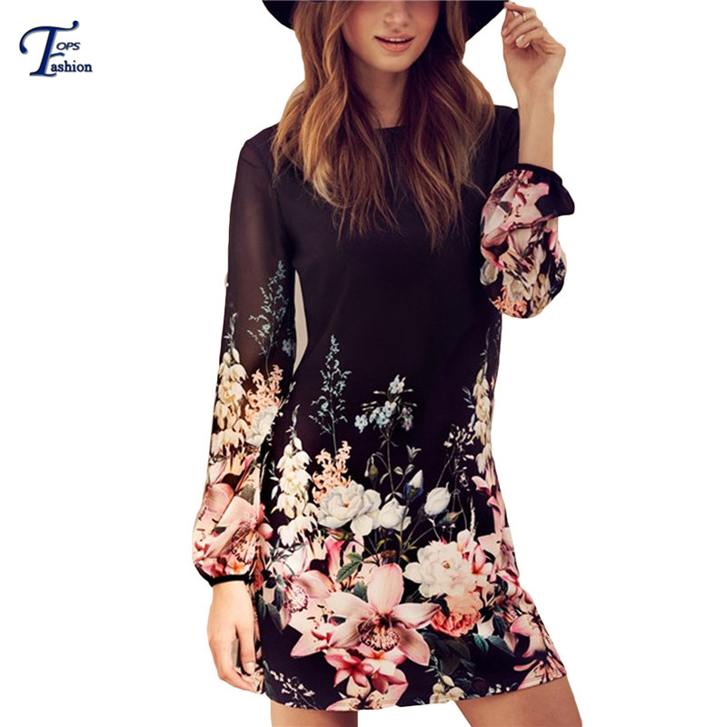Women Spring Style 2016 Newest Shift Dresses Beautiful Black Long Sleeve Floral Print Round Neck Chiffon Short Dress(China (Mainland))