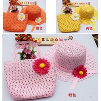 New hot Summer Spring baby hat  Straw Baby Sun hat with Bag Kids Summer Hat Sunbonnet Flower 9 colors 5sets/lot Free Shipping