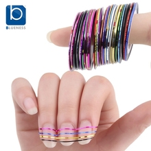 Blueness Beauty 10 Rolls Mixed Color Nail Striping Tape Decal For DIY 3D Nail Art Tips Decorations Nail Line Foil Sticker JH014(China (Mainland))