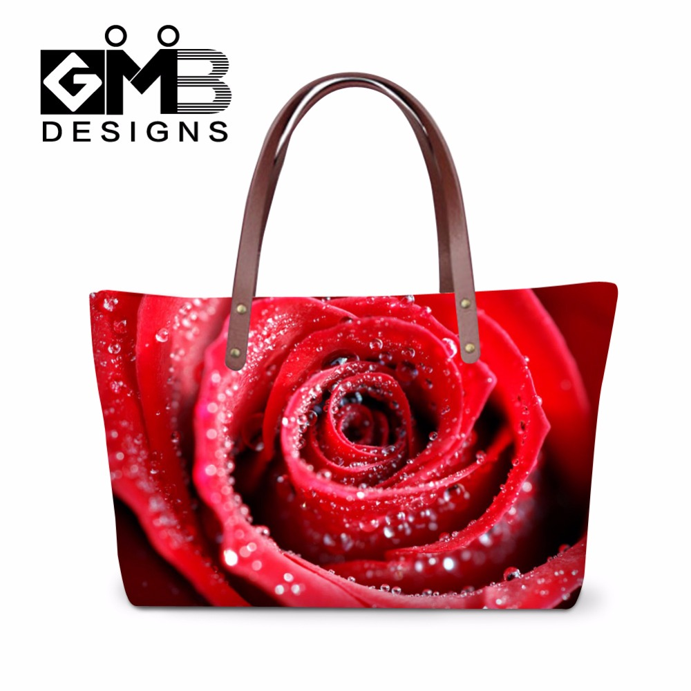 Red Rose Tote Bags Flower Appliques Shoulder Handbags for Girls Teen Crossover Bag for Women Casual Summer Hand Bag for Ladies(China (Mainland))