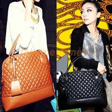 New Women Faux Leather Quilted Embossed Handbag Shoulder Bag Tote 2 Colors WORD(China (Mainland))