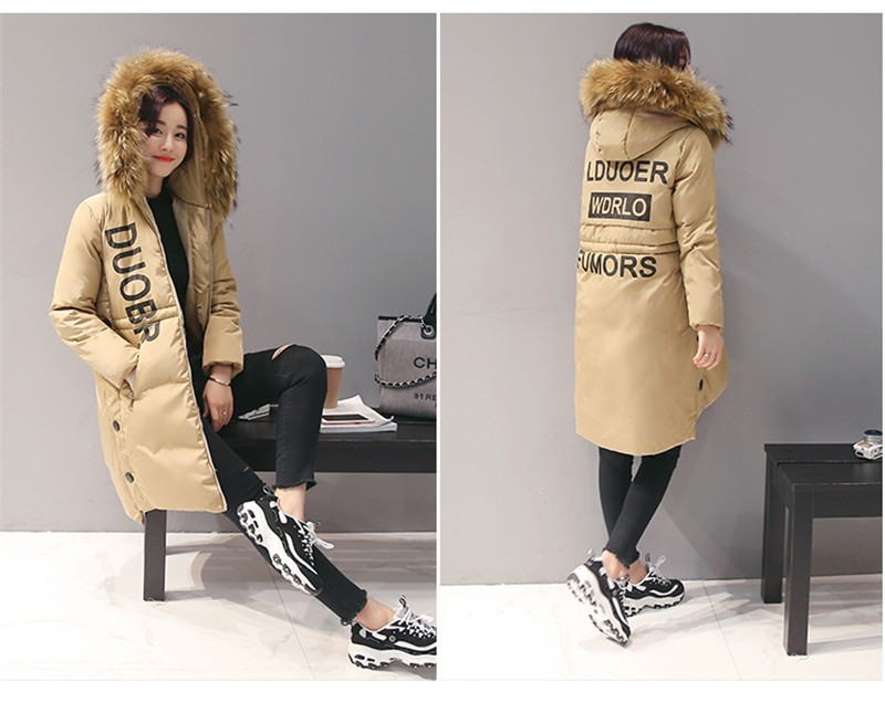 New Winter Women Coat Korean Long Down Jacket Female Slim Was Thin Hooded Cotton Overcoat C364