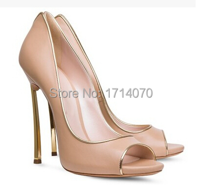 2015 Newest Elegant Naked Pink Metal Heel Peep Toe Stiletto Heel With Golden Edge<br><br>Aliexpress