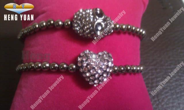 Wholesale Jewelry Rhinestone Skull Bracelet Crystal Heart Charm Bracelet Set BS054(China (Mainland))