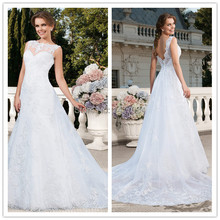 Custom Made 2015 New style Vestidos De Noivas Rendas Sexy Backless Wedding Dresses Lace Wedding Dress Vestido Casamento(China (Mainland))