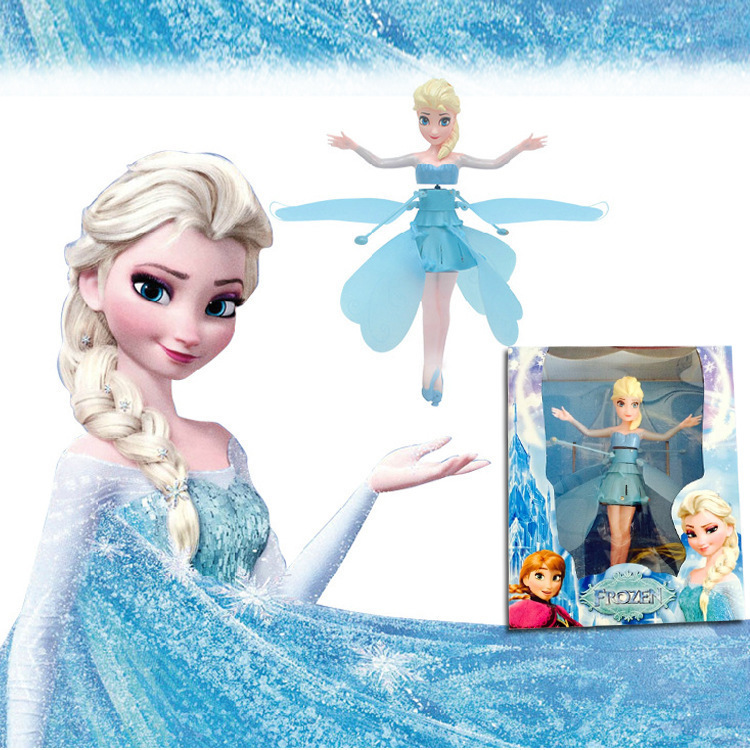 retail Plastic Boneca Princesa frozen Elsa Anna Fly Fairy Infrared Induction Remote Control Doll For Girl With Electric baby Toy(China (Mainland))
