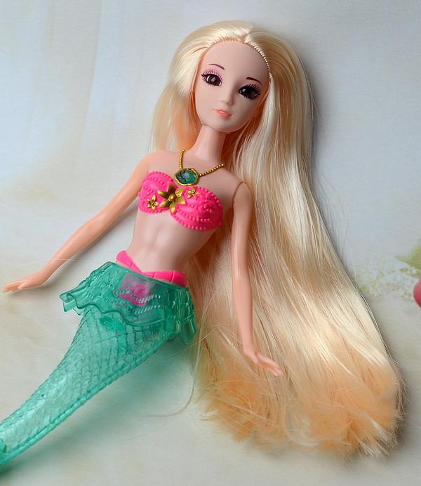 2016 New 3D Eyes Mermaid Princess Doll / Can Shine Sing Songs / Child Toy Equipment For Barbie Toys Doll Ladies Birthday Reward