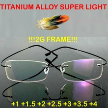 =GENUINE=Brand Titanium super light Optical Glasses Frame Rimless Ultra Light Reading Glasses +1 +1.5 +2 +2.5 +3 +3.5 +4