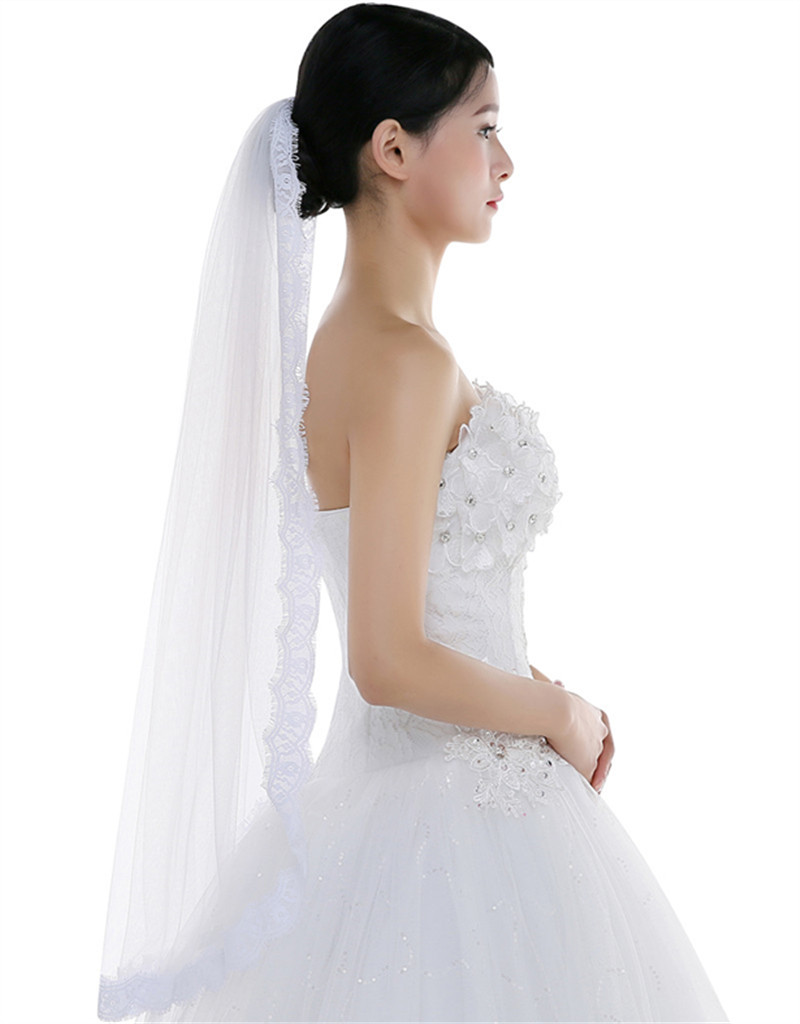Elegant White / Ivory Wedding Veils 2016 New Simple One Layer Soft Tulle Bridal Veil With Lace Edge For Beautiful Bride(China (Mainland))