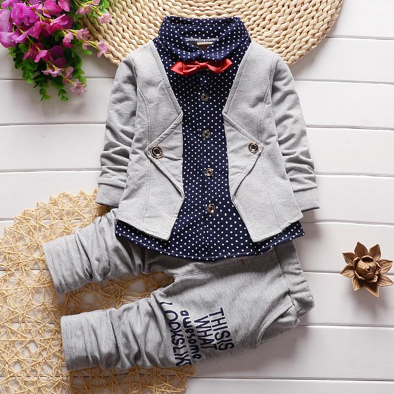 BibiCola new gentleman baby boys clothing set Children spring autumn coat + pants fake three-piece suit baby kids clothes suit(China (Mainland))