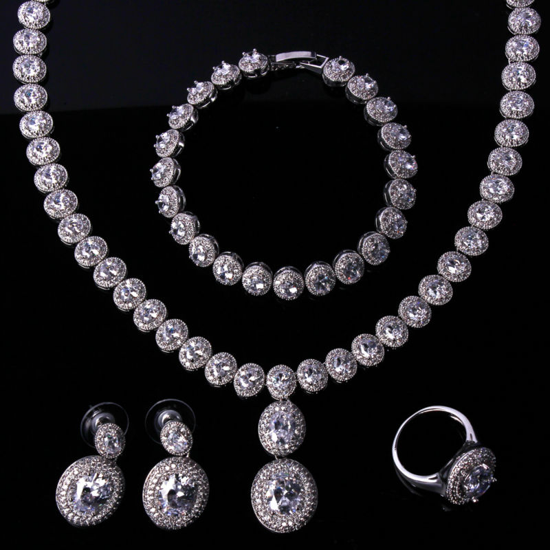 Elegant Bridal jewelry sets white gold filled necklace set 4pcs jewelry set of necklace earrings bracelet and ring necklace set