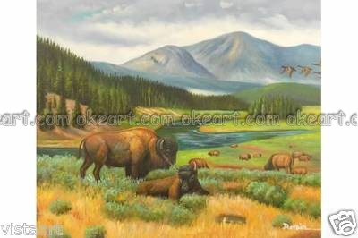 Animal decoration Mountain Buffalo traditional background High quality oil paintings free shipping Modern Art Deco(China (Mainland))