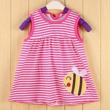 Summer Cute Baby Girl Dress Cotton Polka Dot Striped Slip Dress butterfuly bow Children Kids Clothing Princess 0-24Months dress(China (Mainland))