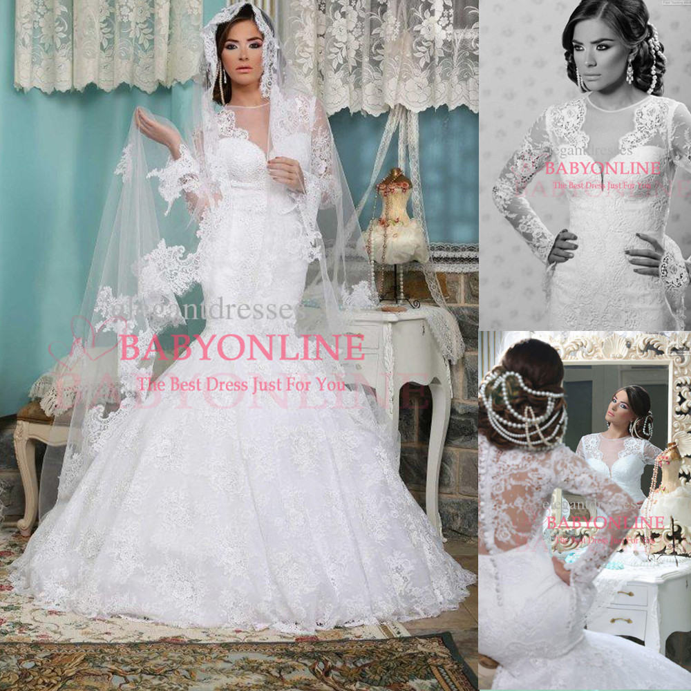 Romantic mermaid wedding dresses 2014 long sleeve v neck for See through lace wedding dress