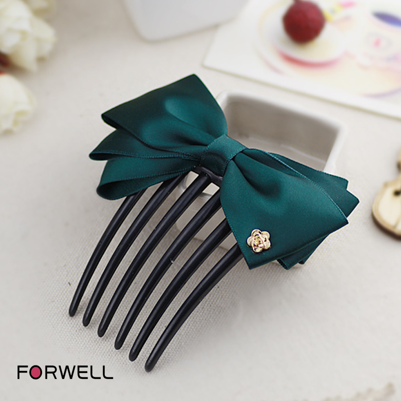 Hair accessories headwear for women girls hair combs manual dark green bow hair clips headdress flower hair ornaments(China (Mainland))