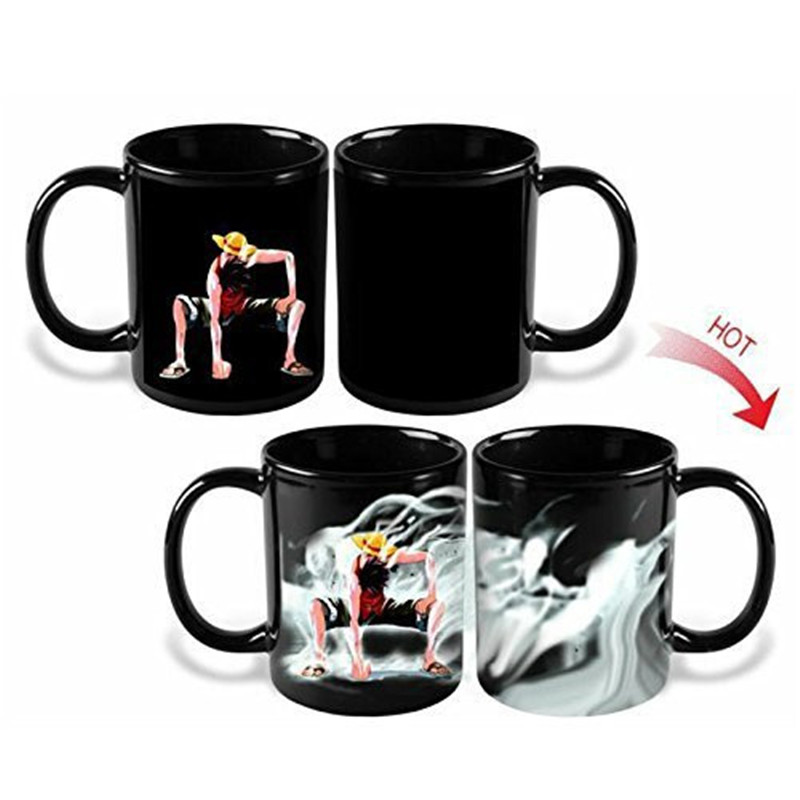One Piece Hot Changing Color Coffee Mug Cup Heat Reactive Tea Milk Copo Magic Ceramic Luffy Drinkware(China (Mainland))