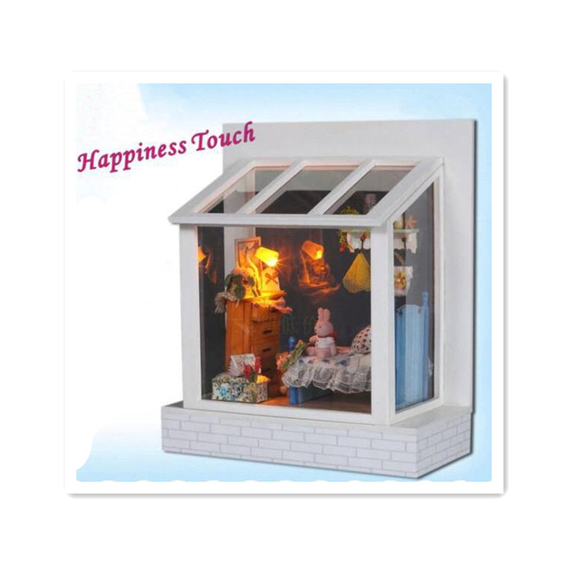 "Miniature Wooden Doll Home DIY Dollhouse Kits Puzzle 3D Constructing Assembling Toys for Youngsters,""Happiness Contact"" Miniatura Home Doll"