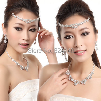 Hot sale crystal flower bridal jewelry sets silver plated  wedding jewelry sets accessory wholesale