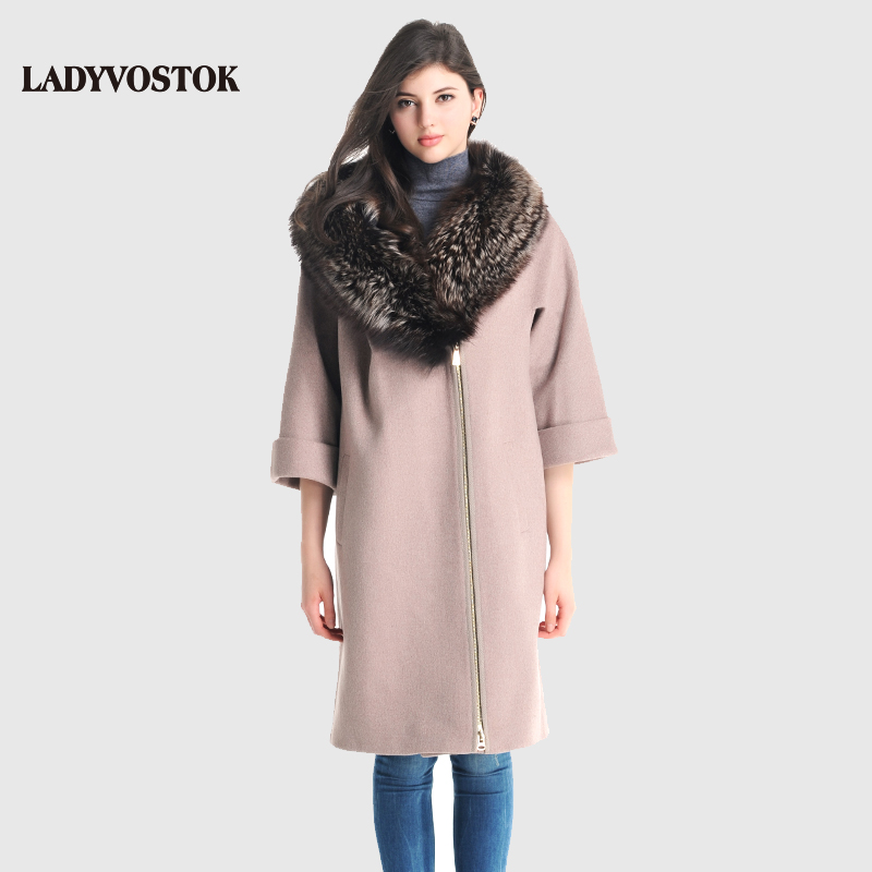 LADYVOSTOK 2016 New Autumn Winter Wool Long Woman Coat With Fur Collar Zipper Loose Bat Sleeve Female Overcoat R1965(China (Mainland))