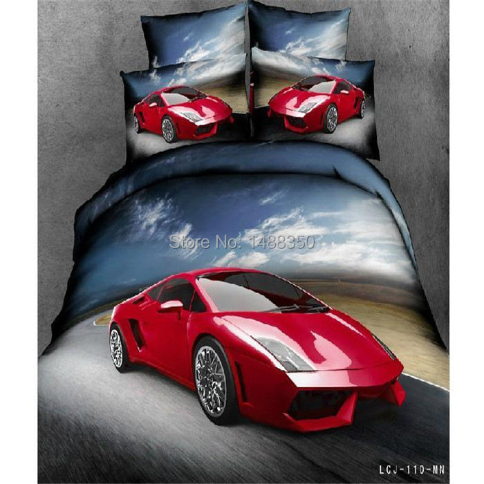 hot sale Bedding product 4pcs,red car quilt /duvet cover/comforter/bed/ flat sheets/bedspread/bed cover/bedclothes/bed linen(China (Mainland))